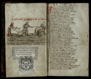 A ploughman depicted in a manuscript copy of William Langland's Piers Plowman (Cambridge, Trinity College, R.3.14, fol. 1v), courtesy of the Master and Fellows of Trinity College Cambridge.