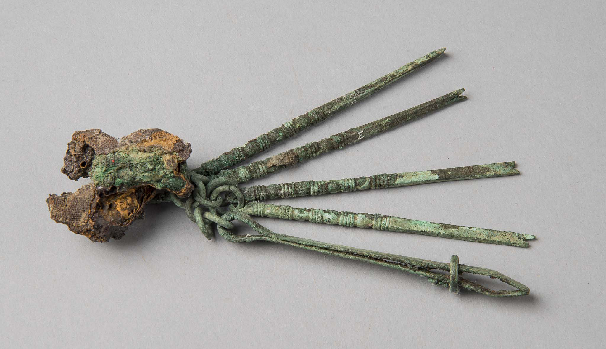 Medical Set with Forceps and Various Hooks; Rome; Roman period; Bronze; 130 x 32 mm (average) KM 1485; Walter Dennison, 1909.