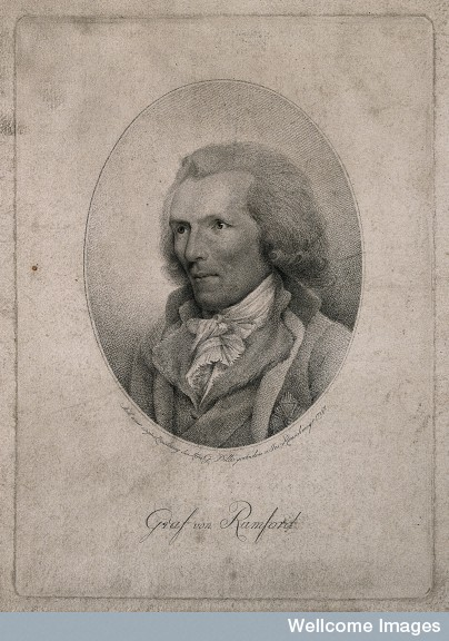 "Thompson, Count von Rumford,"" stipple engraving by J. P. P. Rauschmayr (1797) Courtesy of the Wellcome Library, London."