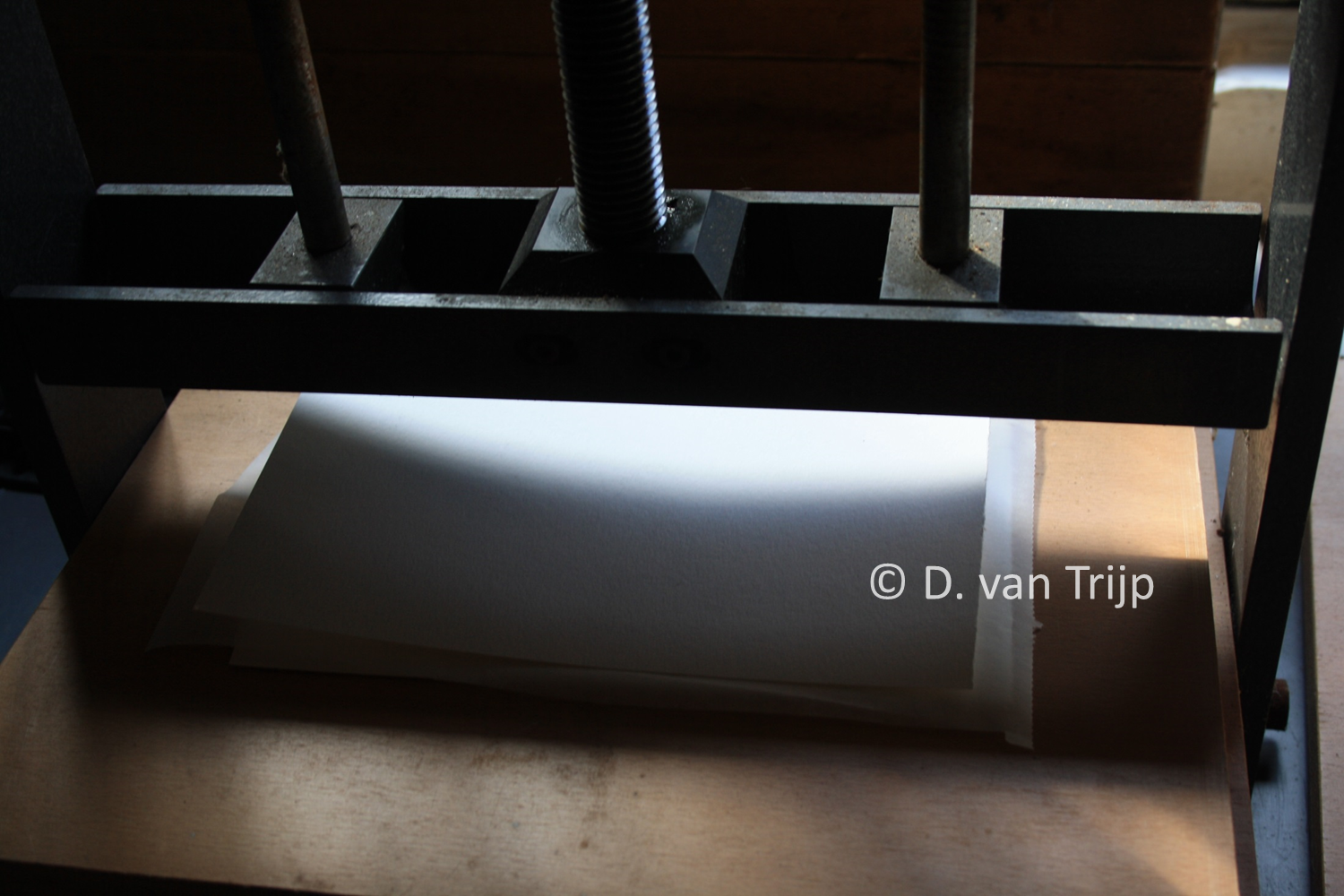 Pressing of fish skin between paper. All images courtesy of the authors.