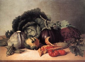 James Peale. Still Life: Balsam Apples and Vegetables, 1820s. Oil on canvas, 51.4 x 67.3 cm. Metropolitan Museum of Art, New York