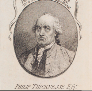 "Another contemporary depiction of Thicknesse, perhaps grumpy about overcooked pasta. James Gillray, ""Philip Thicknesse,"" etching published by James Ridgway (1790), NPG D12410. Image courtesy of the National Portrait Gallery, London."