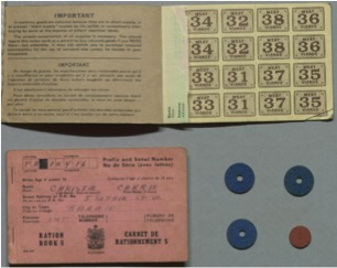 Figure 2 Ration coupon booklets and Ration tokens. The Ration Administration, Canada 194-. Image Credit: Thomas Fisher Rare Book Library.