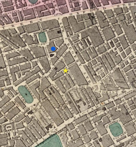 Map showing shop locations of Agnes Headman (yellow star) and Esther Gaubert (blue marker). Map from Society for the Useful Diffusion of Knowledge (London: Edward Stanford, 1865), courtesy of David Rumsey Map Collection, https://www.davidrumsey.com/luna/servlet/s/n9j7q4