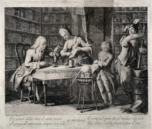An apothecary making up a prescription using scales, his wife holds a recipe for him and two assistants are working with the bellows and pestle and mortar. Line engraving by F. Baretta after P. Mainoto. Credit: Wellcome Library, London.