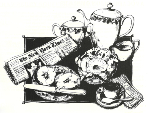 Fig. 1. Illustration from Out of Our Kitchen Closets: San Francisco Gay Jewish Cooking (San Francisco: Congregation Sha'Ar Zahav, 1987). Image courtesy of CLGA.