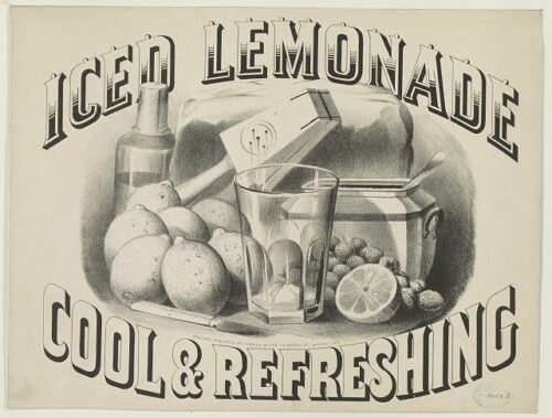 Black and white ad, reading 'Iced lemonade, cool and refreshing'. There is a picture of a glass, lemons, and tools for making lemonade.