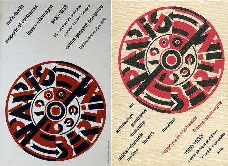 Roman Cieslewicz, affiche (à gauche), et couverture du catalogue (à droite) pour Paris-Berlin, 1978. (Archives MNAM)