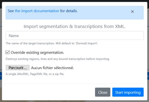 Formulaire de paramétrage des imports de segmentation et/ou transcription