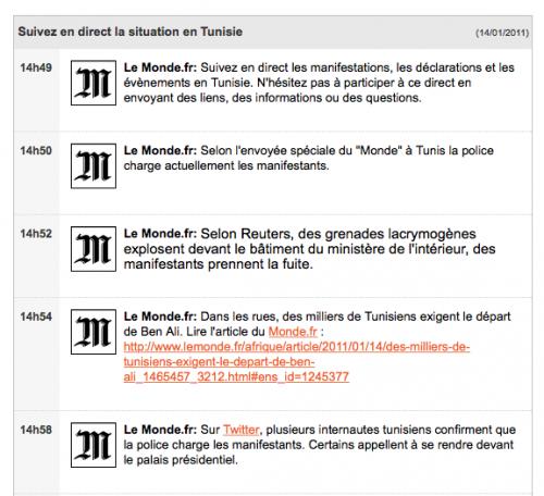 Exemple de Liveblogging sur le site Le Monde.fr. Focus sur les manifestations tunisiennes de janvier 2011