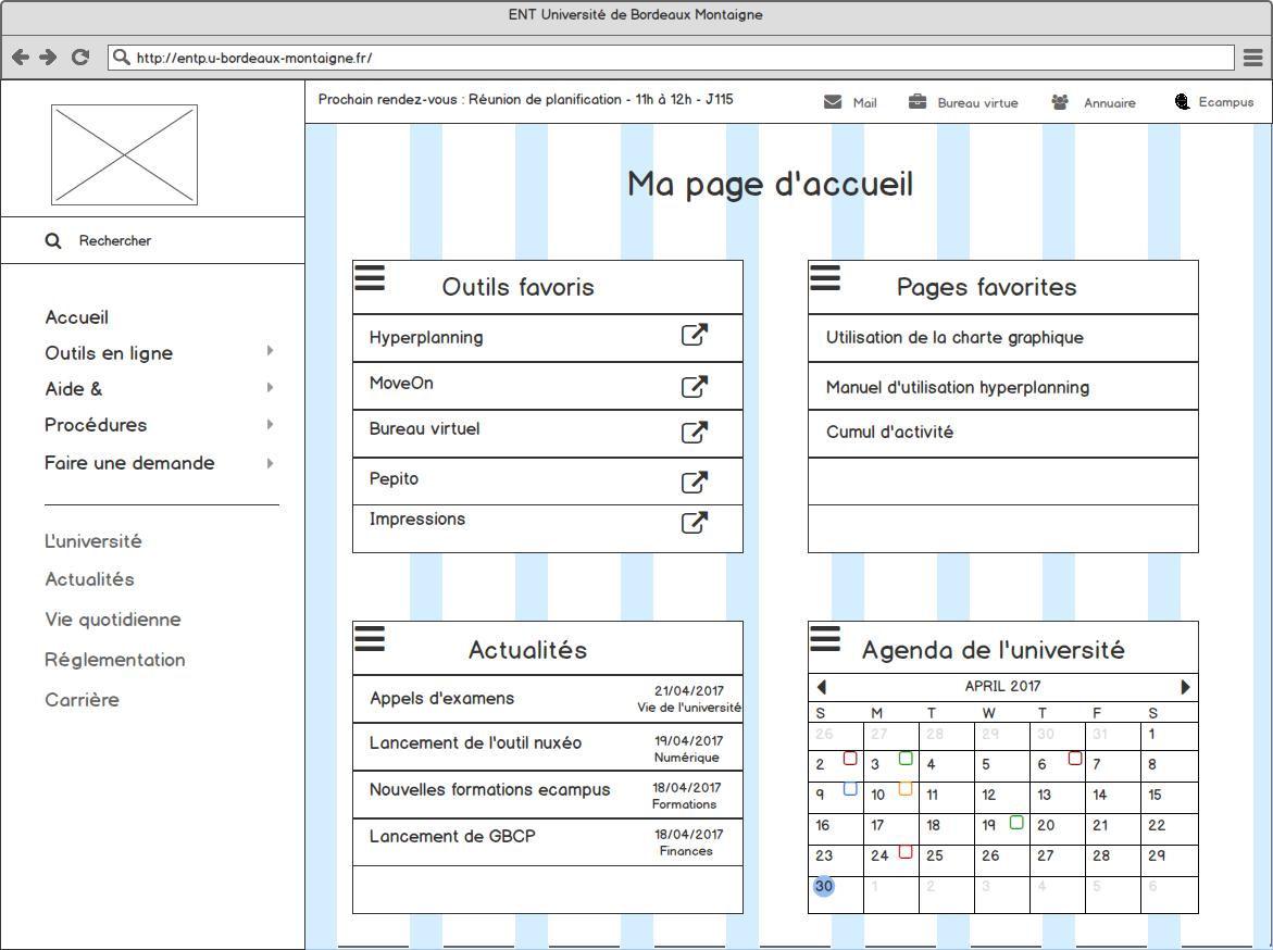 Maquette filaire de la page d'accueil de l'intranet