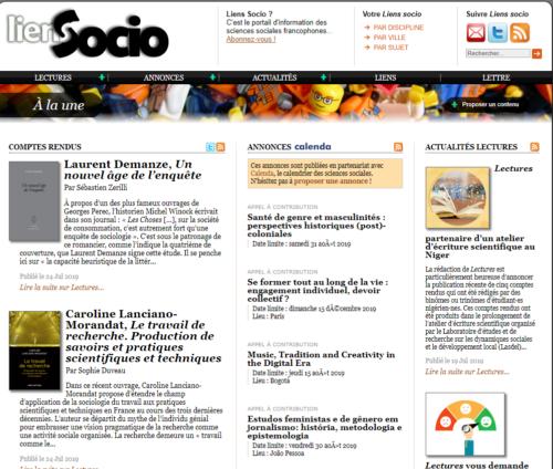 Capture d'écran du site LiensSocio