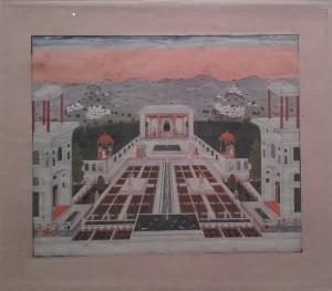 Jardin de palais dominant un lac et un paysage de collines, Inde, Hyderabad, vers 1750