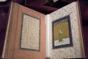 """""""Le prophète Khwaja Khizr Khan"""", Miniatures, portraits et modèles d'écriture des Indes, Inde, c. 1760. Gouache, aquarelle, lavis, rehauts d'or et d'argent sur papier."""