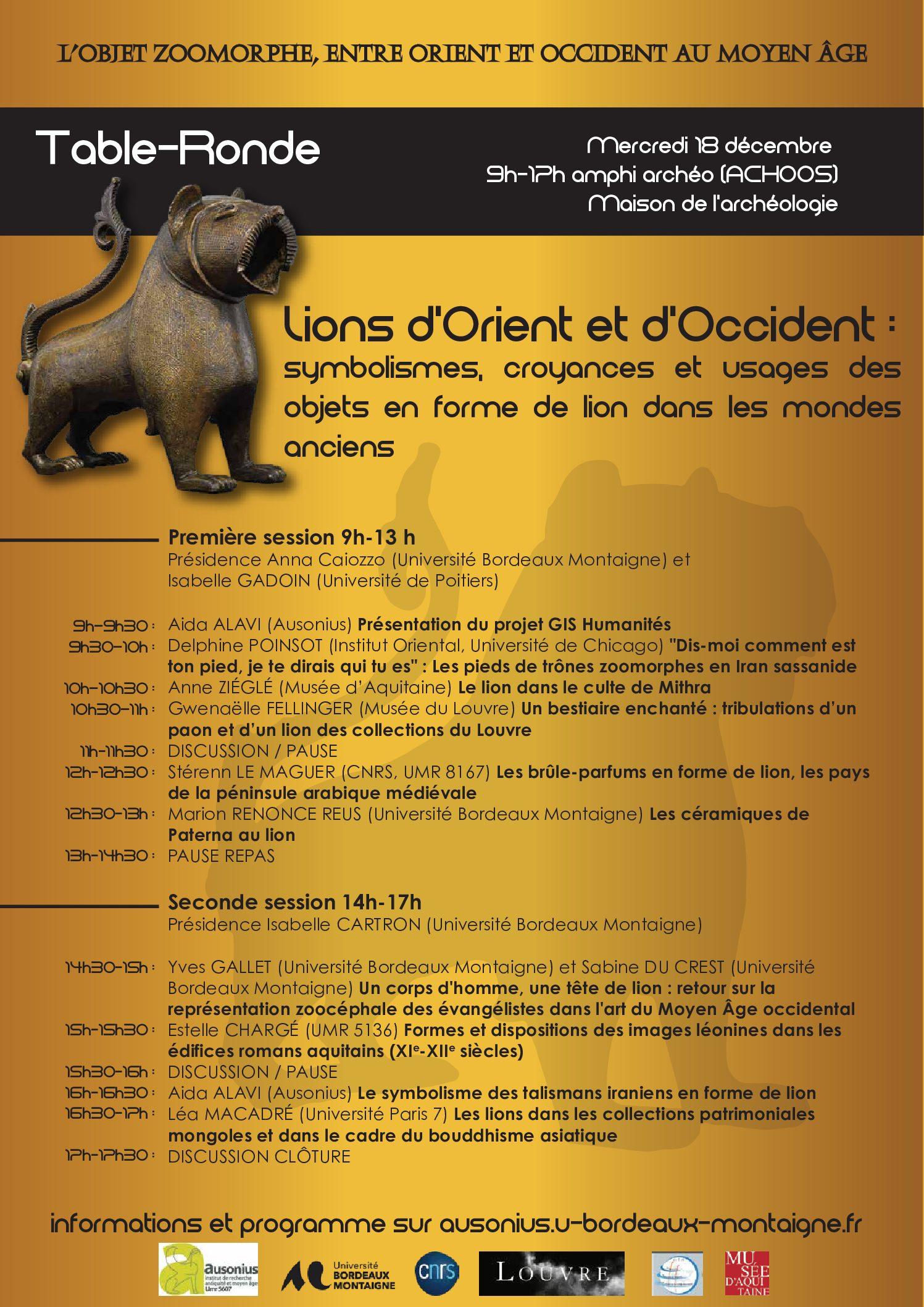 Table-ronde : «Lions d'Orient et d'Occident», Bordeaux, 18/12/2019