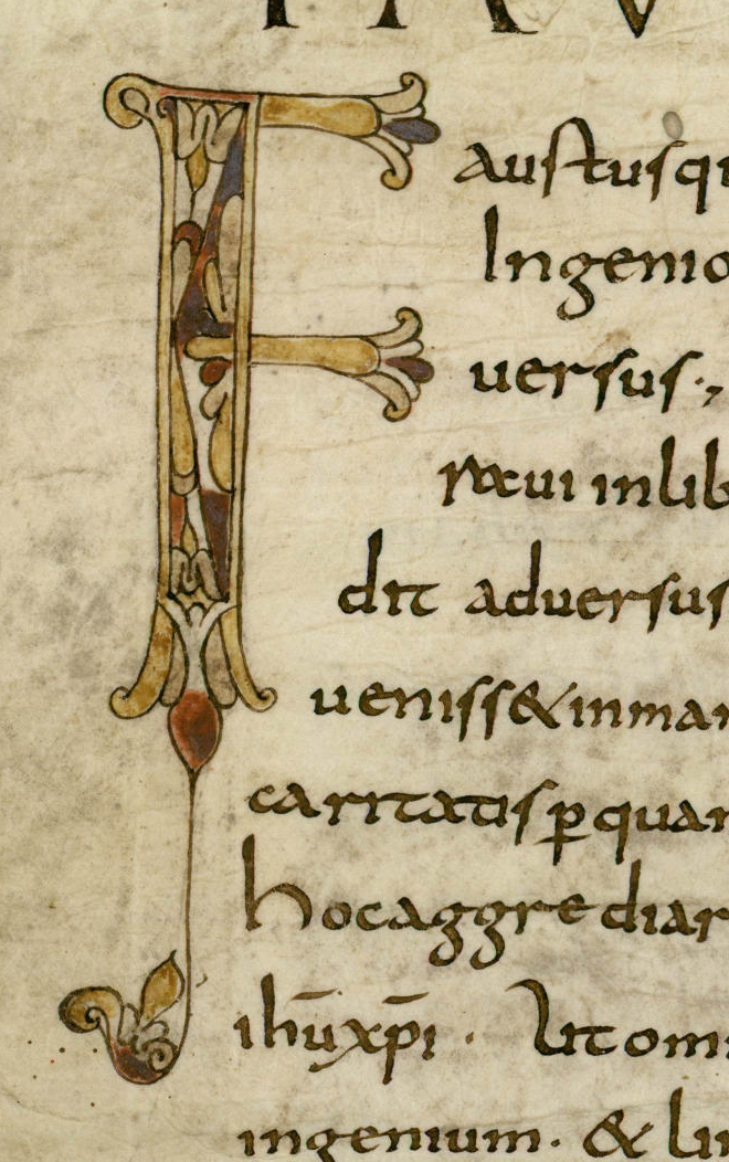 Lettrine du Contra Faustum de saint Augustin, dans l'exemplaire de travail de Florus de Lyon.