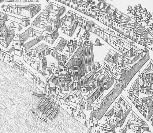 Le quartier Saint-Jean. Détail du plan scénographique de la Ville de Lyon au XVIe siècle, pl. IX
