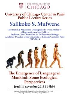 Mufwene Public Lecture Paris