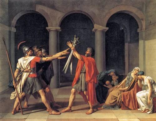 El juramento de los Horacios, obra de David (1784) que Román relata en el Louvre de París
