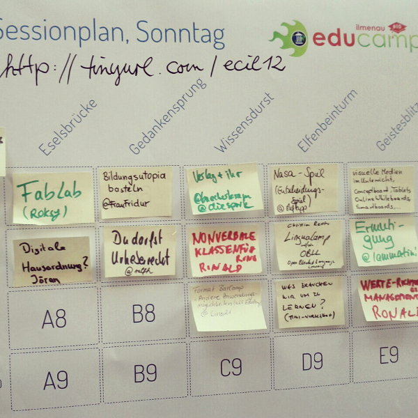 Educamp Ilmenau - Sessionplan für Sonntag, Foto: Tine Nowak