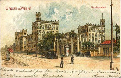 """Der Nordbahnhof in Wien auf Postkarte, """"Gruss aus Wien"""", um 1900, Museen der Stadt Wien. Inv. Nr. 196.876. Wiedergabe aus """"Grosser Bahnhof. Wien und die weite Welt."""""""