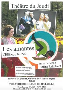 """Affiche du spectacle """"Les Amantes"""" du Théâtre du Jeudi"""