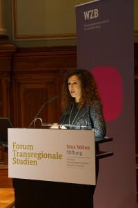 "Hania Sobhy auf der Konferenz ""Inequality, Education and Social Power: Transregional Perspectives"" des Forums Transregionale Studien und der Max Weber Stiftung am 24. November 2014 in Berlin."