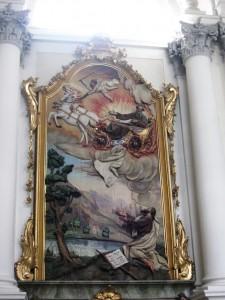 Reliefaltar des Aiblinger Bildhauser Straub in der Klosterkirche Reisach - Himmelfahrt des Elias