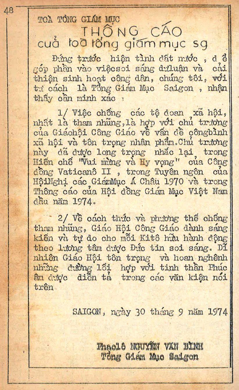 Communiqué de Mgr Paul Nguyen Van Binh contre la corruption paru dans Dung Day n°62, 27-10-1974.