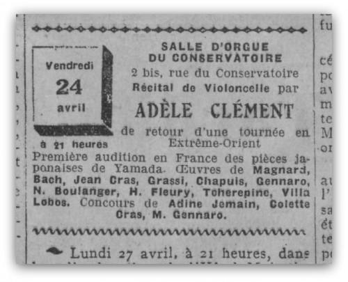 AdèleClément_Récital24-04-1931
