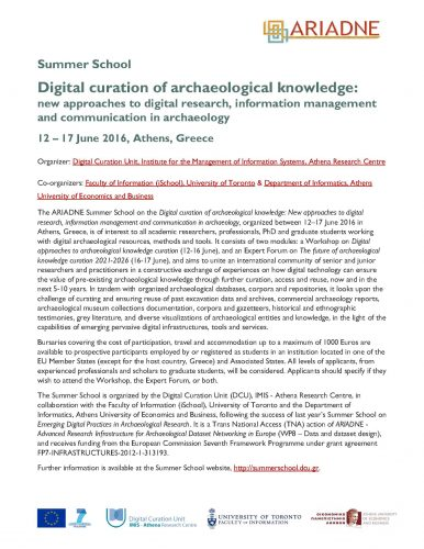 ARIADNE Summer School on archaeological digital curation-