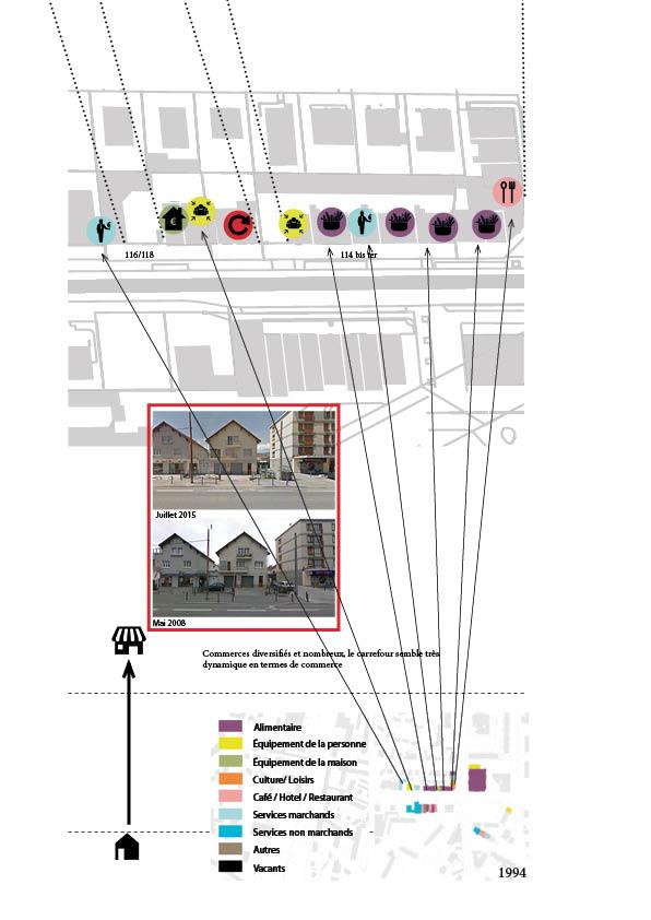 Figure 10 : Détail Typologie de la vacance - Des locaux commerciaux «figés dans le temps» - Elodie Lamothe -sources : cadastre.gouv.fr, Archives de Grenoble et Google Map.