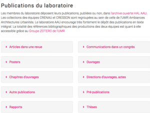 Page publications du site AAU