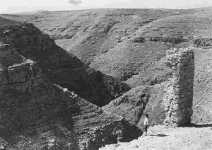Monastère du Souka alias de Saint-Chariton (Khirbat Khureitun), vue de la vallée de Nahal-Tekoa.