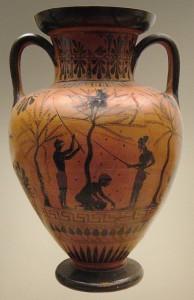 Récolte d'olives, Amphore du peintre Antimènes, vers 520 av. J.C., Wikicommons