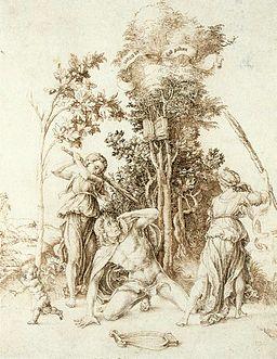 Mort d'Orphée sous les coups des Bacchantes, par Albrecht Dürer (1494) Hambourg, Wikicommons