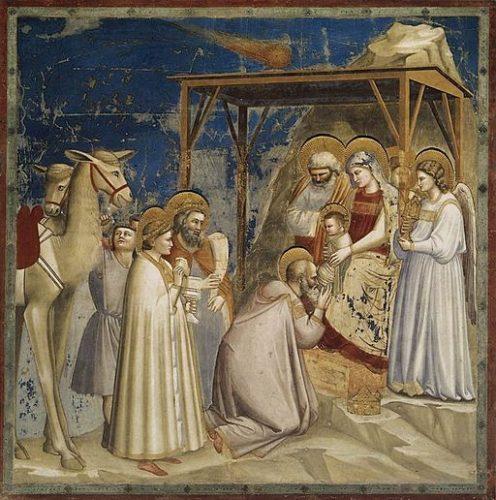 Giotto, L'adoration des mages et l'étoile, Chapelle des scrofuleux, Padoue, (Wikicommons)