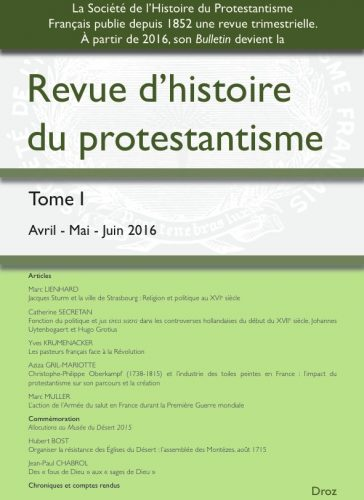 2016.2 - Revue d'Histoire des Protestantisme